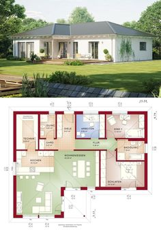"""One Level House Floor Plans Bungalow Modern Contemporary European Country Style Architecture Design """"AMBIENCE 111 - Dream Home Ideas Layout by Bien Zenker - Arquitectura moderna casas planos - HausbauDirekt. Bungalow House Plans, Ranch House Plans, Craftsman House Plans, House Floor Plans, European House Plans, Country House Plans, Model House Plan, Prefabricated Houses, Hip Roof"""