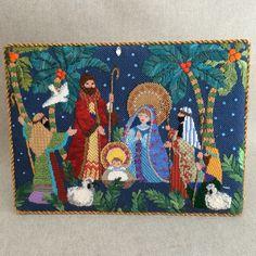 Nativity scene easel back, designer unknown Christmas Nativity Scene, Christmas Cross, All Things Christmas, Nativity Scenes, Needlepoint Pillows, Needlepoint Stitches, Needlework, Nativity Advent Calendar, Kokeshi Dolls