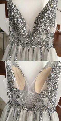 Sparkly Crystal Beaded V-neck Tulle Split Evening Dresses Grad Dresses, Prom Party Dresses, Ball Dresses, Homecoming Dresses, Ball Gowns, Wedding Dresses, Prom Dress, Beaded Evening Gowns, Evening Dresses