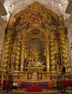mesbeauxarts:    Bernardo Simón de Pineda (design), Pedro Roldán (sculpture), Juan de Valdés Leal (polychrome) and Bartolomé Esteban Murillo (painting). High Altar of the Hospital de la Caridad. 1670-1675.  Gilded wood, carved wood, polychrome and oil paint.  Hospital de la Caridad. Sevilla, España.
