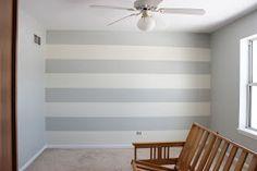 gray striped walls Aqua & Orange Nursery Board via Delightfully Noted Sources: Sunshine Print:JM Design Grey Striped Walls, Striped Nursery, Orange Nursery, Grey Stripes, Nursery Stripes, Baby Bedroom, Bedroom Wall, Diy Wall Decor, Room Decor