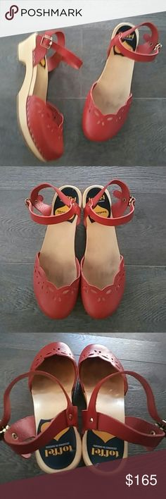 Swedish Hasbeens Red Leather Maryjane sz 38 Gorgeous Red Leather Swedish Hasbeens by Toffel. Light footprint inside. Worn 2x Max. No sole wear.   Wooden base with rubber soles. Very cute.   Offers considered.. Swedish Hasbeens Shoes Mules & Clogs