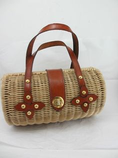 1960S Wicker & Leather Cylinder Purse