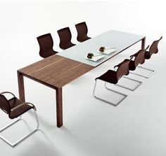 modern meeting area - 2 - love the two different materials on the table. it would be awesome if the blue area was an erasable board!