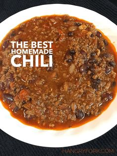 The Best Homemade Chili with Bacon Onions Red Bell Pepper Green Bell Pepper Garlic Chili Powder Ground Cumin Paprika Chipotle Dried Oregano Salt Cayenne Ground Beef Beer Black Beans Red Kidney Beans Crushed Tomatoes Diced Tomatoes. - March 24 2019 at Chili Recipe From Scratch, Best Chili Recipe, Chilli Recipes, Beef Recipes, Mexican Food Recipes, Cooking Recipes, Homemade Chilli Recipe, Chili With Bacon Recipe, Thick Chili Recipe