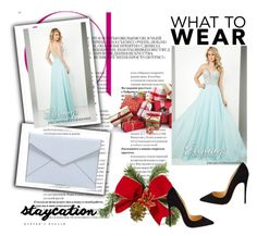 """""""Chiffon Gown Tony Bowls 11640 Aqua Prom Dress"""" by chrissybarby ❤ liked on Polyvore featuring Tony Bowls, Christian Louboutin and Rebecca Minkoff"""