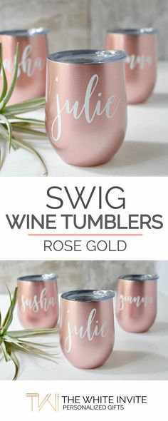 Rose Gold Swig Wine Tumbler Bridesmaid Gift - Bachelorette Gift -Custom Personalized Monogrammed Tumbler With Lid These rose gold SWIG stemless wine glasses with a lid personalized with the name of your choice are a unique wedding favor keepsake to your b Unique Wedding Favors, Gifts For Wedding Party, Unique Weddings, Wedding Ideas, Wedding Venues, Wedding Decorations, Elegant Wedding, Diy Wedding, Trendy Wedding