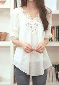 Love this shirt! Sweet Elegant Floral Crochet Lace Spliced White T-shirt Beauty And Fashion, Look Fashion, Passion For Fashion, Fashion Outfits, Womens Fashion, Pretty Outfits, Cute Outfits, Crochet Lace, Crochet Shirt