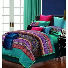 @Overstock - Rosewood Cotton 300 Thread Count 3-piece Duvet Cover Set - Rows of over-sized and small paisley patterns combine to form this eye-catching and colorful abstract duvet cover set, accented with two matching shams. Crafted with cotton, this eclectic bedding is machine washable for easy clean up.  http://www.overstock.com/Bedding-Bath/Rosewood-Cotton-300-Thread-Count-3-piece-Duvet-Cover-Set/9240543/product.html?CID=214117 $79.99