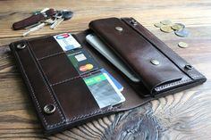 Mens long wallet personalized Long wallet with coin purse Leather purse Leather long wallets for men Checkbook wallet Travel wallet for him Personalized Leather Wallet, Handmade Leather Wallet, Brown Leather Wallet, Leather Phone Case, Leather Purses, Long Wallet Men, Leather Wallet Pattern, Travel Gifts, Wallets For Women