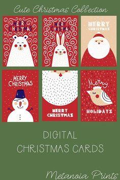 Digital Cute Christmas Card Set of 6, Snowman, Bunny, Bear, Santa, Bird Printable Merry Holidays Card Cute Bunny Merry Christmas https://www.etsy.com/listing/564387154/cute-bunny-merry-christmas-card-diy?ref=related-1 Cute Bear Merry Christmas
