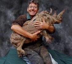 Tony Fredricksson with driftwood rhino, South Africa