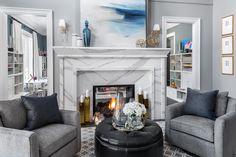 A peek inside Scott McGillivray's comfortably elegant Great Room featuring 'Courtyard' (P5220-44) on the walls. As seen on HGTV Canada's Moving the McGillivrays.