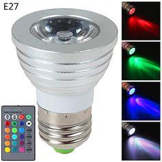 Focos LED Regulable / Control Remoto E14 / GU10 / E26/E27 3W 1 LED de Alta Potencia 270 LM RGB AC 85-265 V 1 pieza 4026126 2016 – €7.99