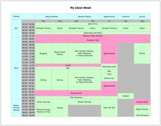 """how Michael Hyatt manages his daily schedule, chart is titled """"My Ideal Week"""""""
