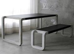 Concrete Bench & Table by Metrofarm (concrete, wood, linoleum)