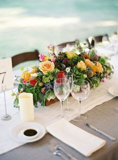 centerpiece inspiration: long wood box with lots of lush greenery and vibrant flowers. The long wood boxes will be perfect on the long wood Descancio tables