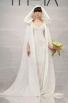 Theia wedding dress and cape, Fall 2014