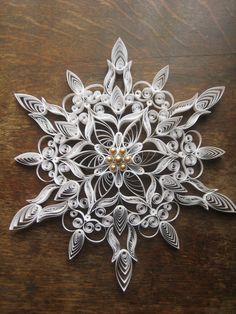 *SNOWFLAKE ~ One set of large quilled snowflakes by SnowQuillings on Etsy