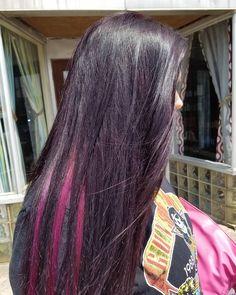 """25 Likes, 1 Comments - Hannah Hansen (@hairbyhannahpeterson) on Instagram: """"Purple with pink peekaboos 💜💜 #hairbyhannahpeterson #theblondesalon #americansalon #beautiful…"""""""