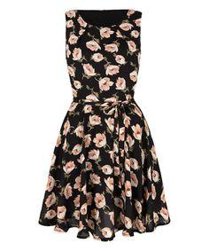 Look what I found on #zulily! Black & Cream Floral Fit & Flare Dress #zulilyfinds