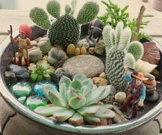 """Wild West"" cactus pot. I made this for my granddaughter."