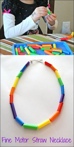Fine Motor Straw Necklace - create this pretty rainbow necklace while working on fine motor skills. Fine Motor Straw Necklace - create this pretty rainbow necklace while working on fine motor skills. Motor Skills Activities, Fine Motor Skills, Learning Activities, Preschool Activities, Physical Activities, Physical Education, Dementia Activities, Health Education, Activites For Preschoolers