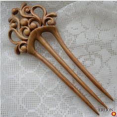 Деревянная ретро заколка тризубец - украшения из дерева, дизайнерская заколка/украшение для волос. МегаГрад - город мастеров и художников