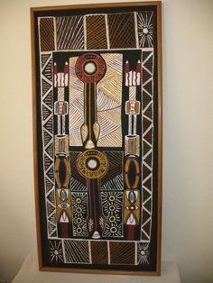 Aboriginal Art Tiwi Cloth Painting Tribal Australia Kantilla Pukamania Poles #Aboriginal