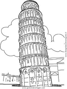 Best Monuments And Other Sights In Europe Coloring Pages Geografie Weltwunder Torre PisaJPG