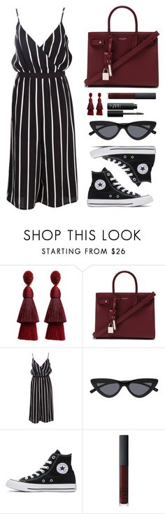 """""""Rouge"""" by baludna ❤ liked on Polyvore featuring Oscar de la Renta, Yves Saint Laurent, Boohoo, Converse and NARS Cosmetics"""