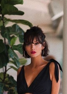 elegant and classy black short hair style with bangs + updo + red lips hair styles Gorgeous Short Hairstyles Haircuts For Curly Hair, Short Black Hairstyles, Short Hair With Bangs, Short Bob Haircuts, Short Hair Cuts, Curly Hair Styles, Natural Hair Styles, Short Pixie, Pixie Hairstyles