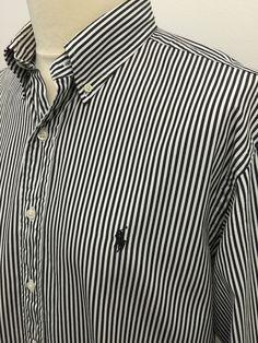 Polo #RalphLauren #Mens #Shirt / XXL / Classic Fit / Black White Bengal Striped Cotton #menswear #mensfashion #mensstyle #macmenswear