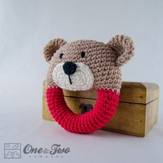 Teddy Bear Rattle PDF Crochet Pattern by oneandtwocompany Crochet Baby Toys, Crochet Bear, Cute Crochet, Crochet For Kids, Crochet Dolls, Baby Knitting, Baby Patterns, Crochet Patterns, Dou Dou