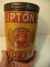 ANTIQUE ADVERTISING SCREW TOP STEEL CUT 1LB. LIPTON COFFEE TIN HOBOKEN ,N.J..