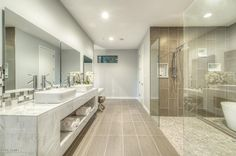 Contemporary Master Bathroom with specialty tile floors, complex marble tile counters, High ceiling, Master bathroom