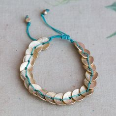 Jade Turquoise And Gold Coin Bracelet