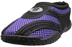 Womens Water Shoes Aqua Slippers Exercise Yoga Socks With Drawstring Closure 8 Black  Purple * To view further for this item, visit the image link.