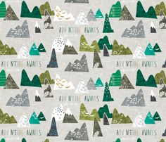 Max's Mountains (Green) REGULAR  fabric by nouveau_bohemian on Spoonflower - custom fabric