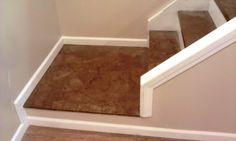 Paper bag flooring on the basement steps.