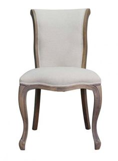 upholstered dining chair with oak cabriole legs Gina Dining Chair Product Code CAN0009 R3,495 Add to Wishlist To check availability on this product, please submit an enquiry above. Description  The comfort and elegance of French country style shines through in this opulent Oak dining chair. The Gina dining chair is supported by beautifully carved cabriole legs and upholstered in a natural cream hue.  * 61% Linen | 39% Cotton  * Oak wood legs