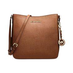 Michael Kors Large Jet Set Travel Luggage Brown Leather Crossbody Handbag