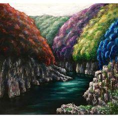 【godo_terasawa】さんのInstagramをピンしています。 《こないだの個展での新作たち②  title :  DOROKYOU#1(於 瀞峡、吉野熊野国立公園) size:F8 (380×455mm) Acrylic on canvas, 2017  #terasawart #寺澤晋吾展 #熊野の幻風景 #絵 #絵画 #美術 #アート #アクリル画  #acrylicpainting #森林 #樹 #forest #tree #acrylic #painting #川 #river #painter #art #fineart #artwork #ancient #熊野古道 #kumano #kumanokodo #熊野 #deepriver #deepforest》