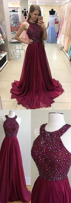 Burgundy chiffon long prom dress, burgundy beaded evening dress #burgundypromdresses #beadedpromdresses #prom #dresses #longpromdress #promdress #eveningdress #promdresses #partydresses