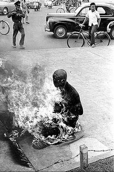 Vietnamese Buddist Monk sets himself on fire in a ritual suicide to protest his government's polices against Buddists, Saigon - 1963