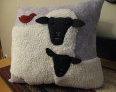 Sweet Lamb and Sheep Pillow Wool Applique Handmade Primtive