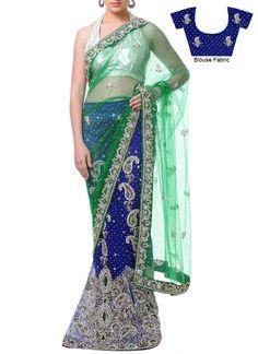 Blue Net Lehenga Saree