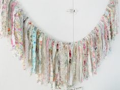 Bridal Shower Rag Tie Banner Wedding Garland Baby Fringe Tea Party Chair Back Valance Bunting Banner Bride Swag Photography Prop Photo Booth Fabric Garland, Garlands, Party Chairs, Bride Photography, Garland Wedding, Bunting Banner, Chair Backs, Photo Booth, Floral Wedding