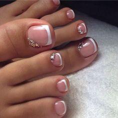 17 Ideas french pedicure designs toenails pretty toes for 2019 Pretty Toe Nails, Cute Toe Nails, My Nails, Gel Toe Nails, Pretty Toes, Acrylic Toe Nails, Pretty Pedicures, Gel Toes, Cute Toes