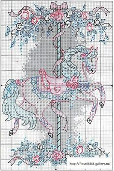 Carousel horse -- free cross stitch pattern